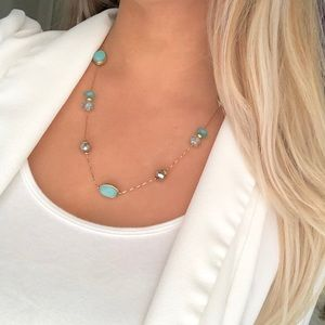 New York & Company gold seafoam beaded necklace